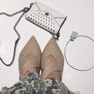 Zara Nude Leather Pointed Toe Sandal